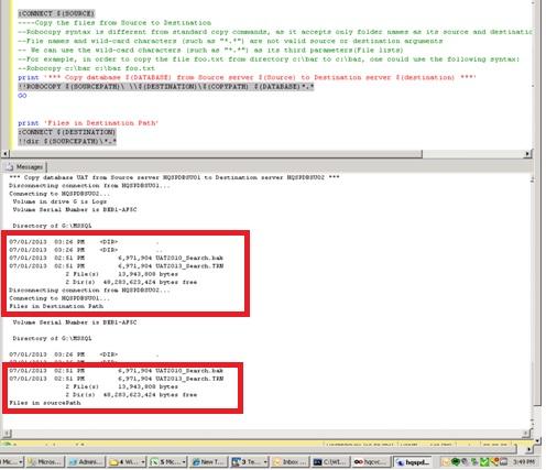 SQLCMD –Quick Copy of Files - Using Robocopy (2/2)