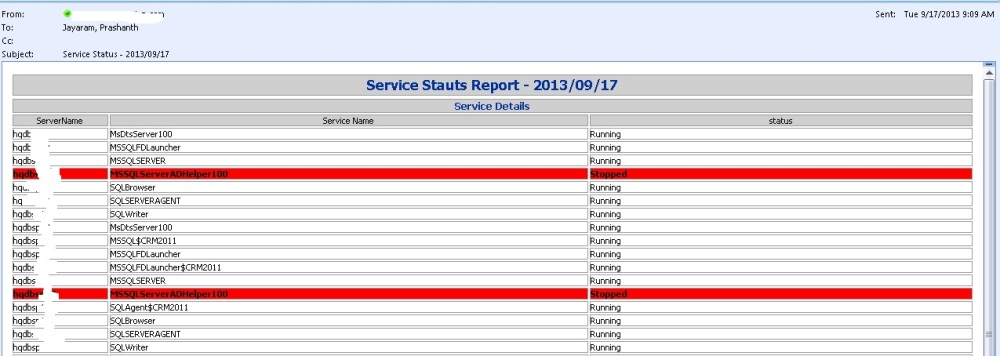 PowerShell - Script to Monitor a Service on a Group of servers - HTML Formatted Email Output (2/2)
